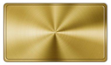 Shiny rectangle golden button on white stock vector