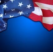 American flag on blue