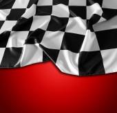 Karierte schwarz-weiße Flagge auf rotem Hintergrund