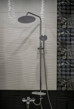Bathroom interior in black and white