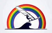 Windsurfing graphic vector.