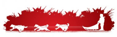 Sled Dogs graphic vector. stock vector