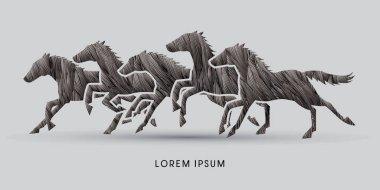 5 Horses running graphic