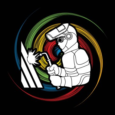 Welder working graphic vector