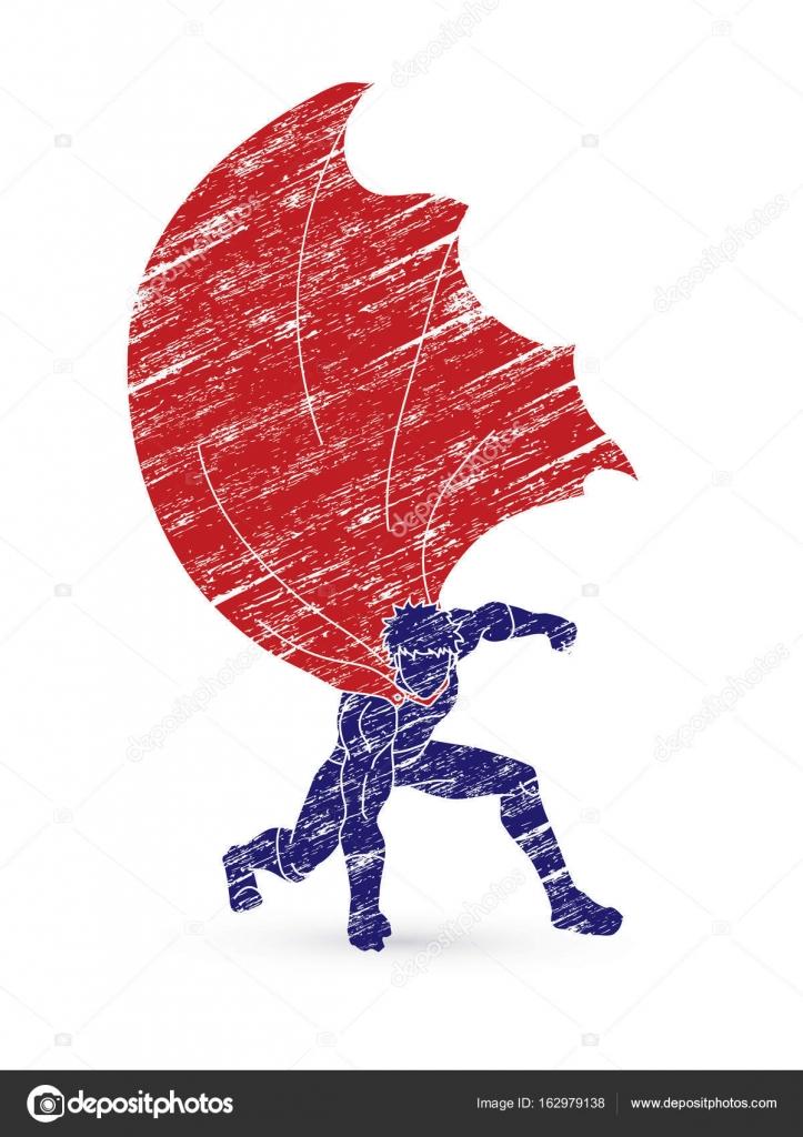 strong man superhero landing powerful action stock vector