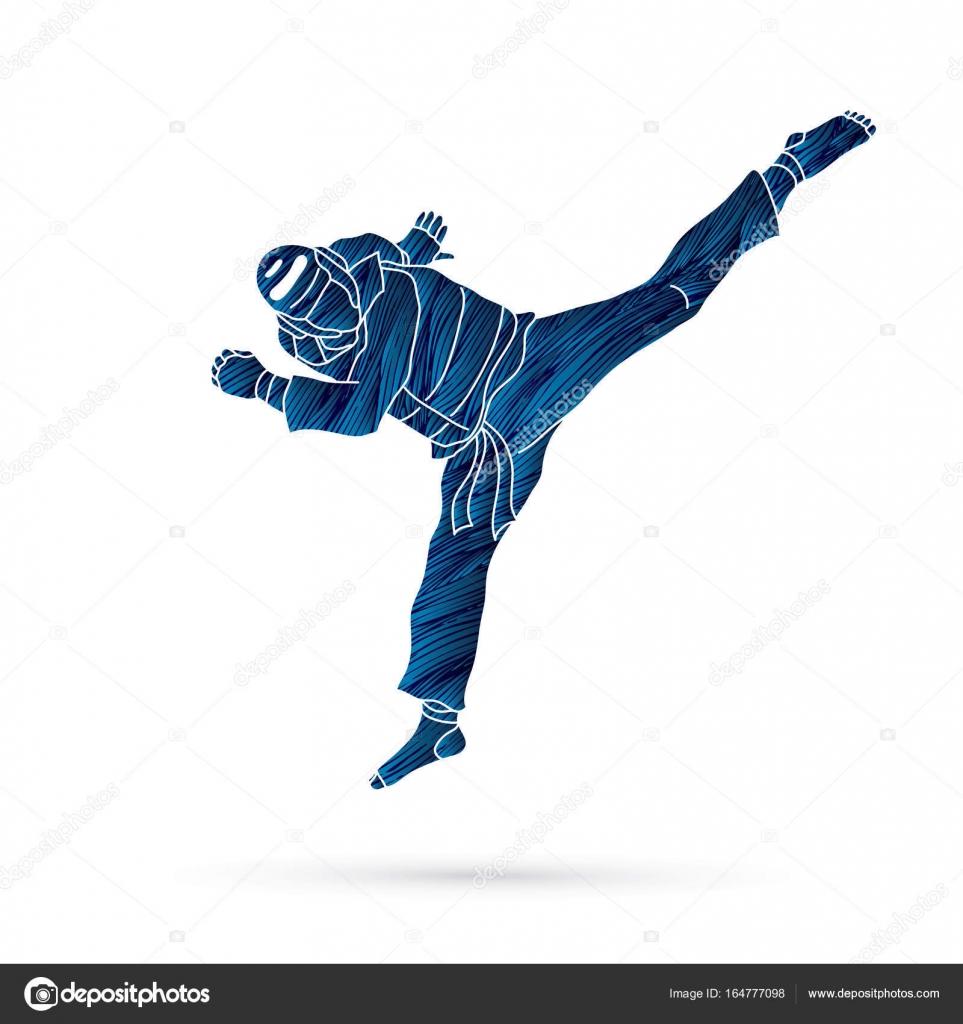 Taekwondo jump kick action with guard equipment — Stock