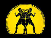 Photo Muay Thai, Thai boxing standing ready to fight action graphic vector