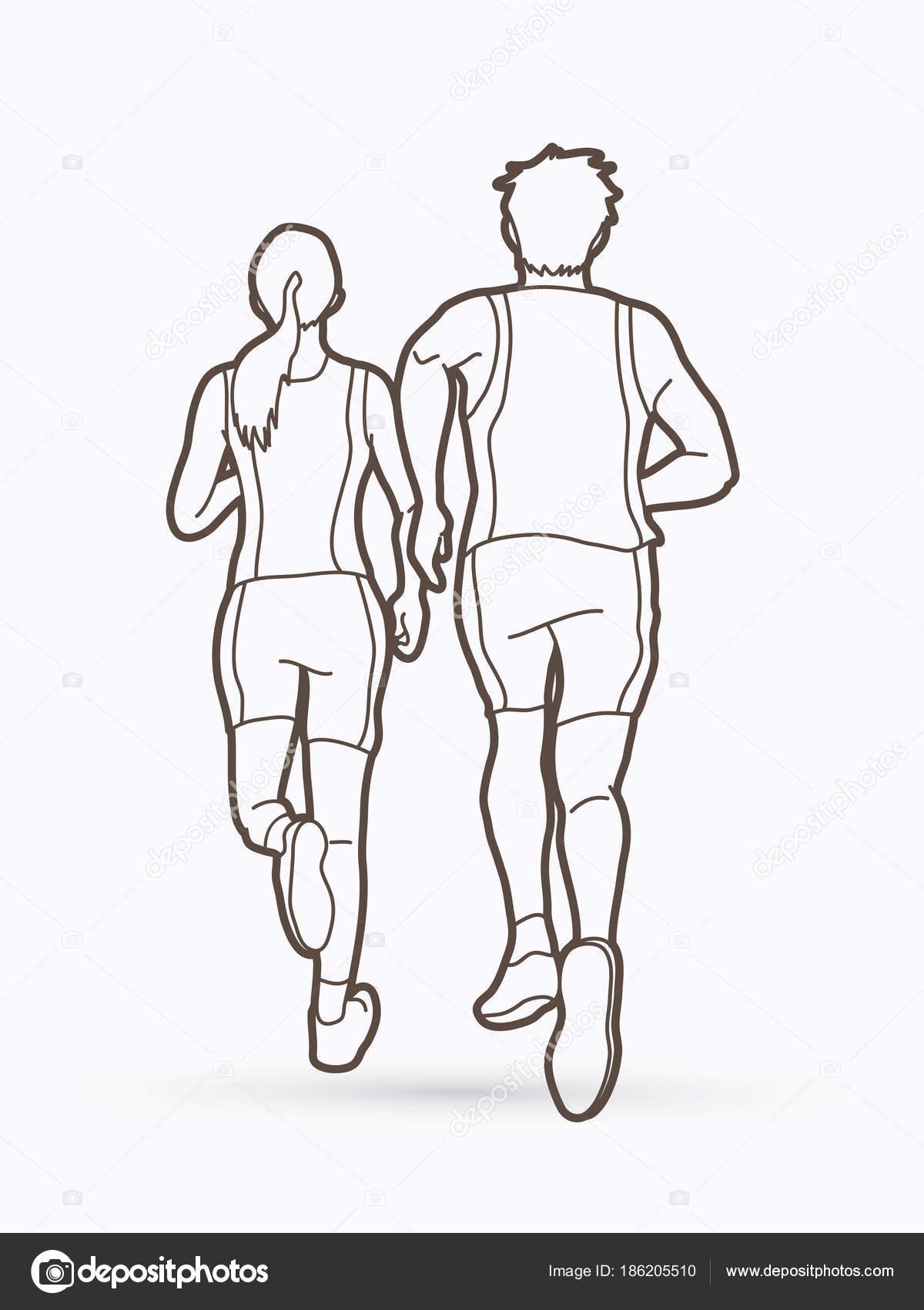 Man Woman Running Together People Run Runner Marathon Graphic Stock Vector