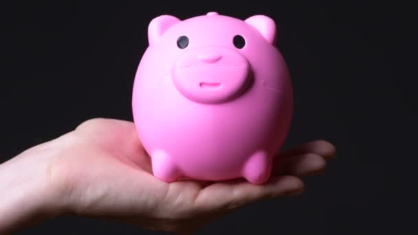 Piggy bank holding fiatalember keze