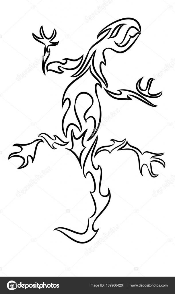 Lagarto dibujo para pintar   Línea dibujo de un lagarto — Vector de ...