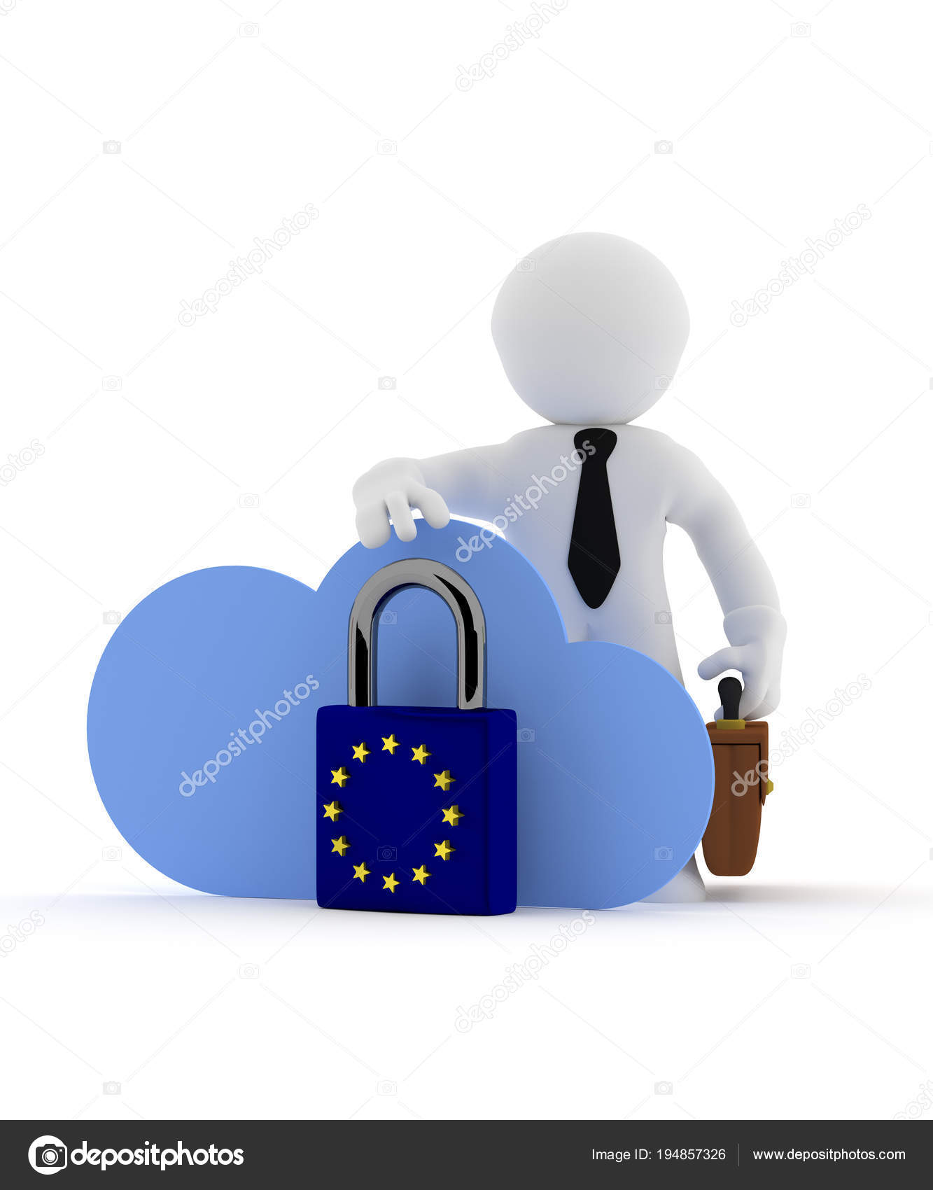 small businessman character with cloud icon and eu padlock stock