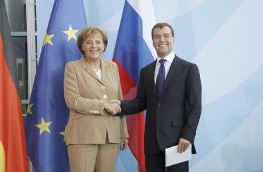 Dmitry Medvedev (Dmitri Medwedew) and Angela Merkel