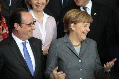Francois Hollande, Chancellor Angela Merkel