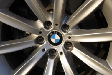 BMW logo on wheel