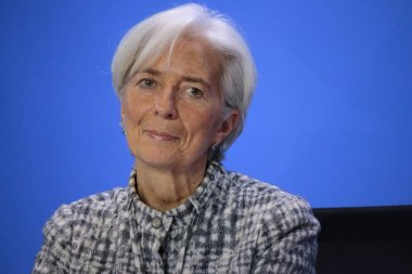Christine Lagarde at a press conference