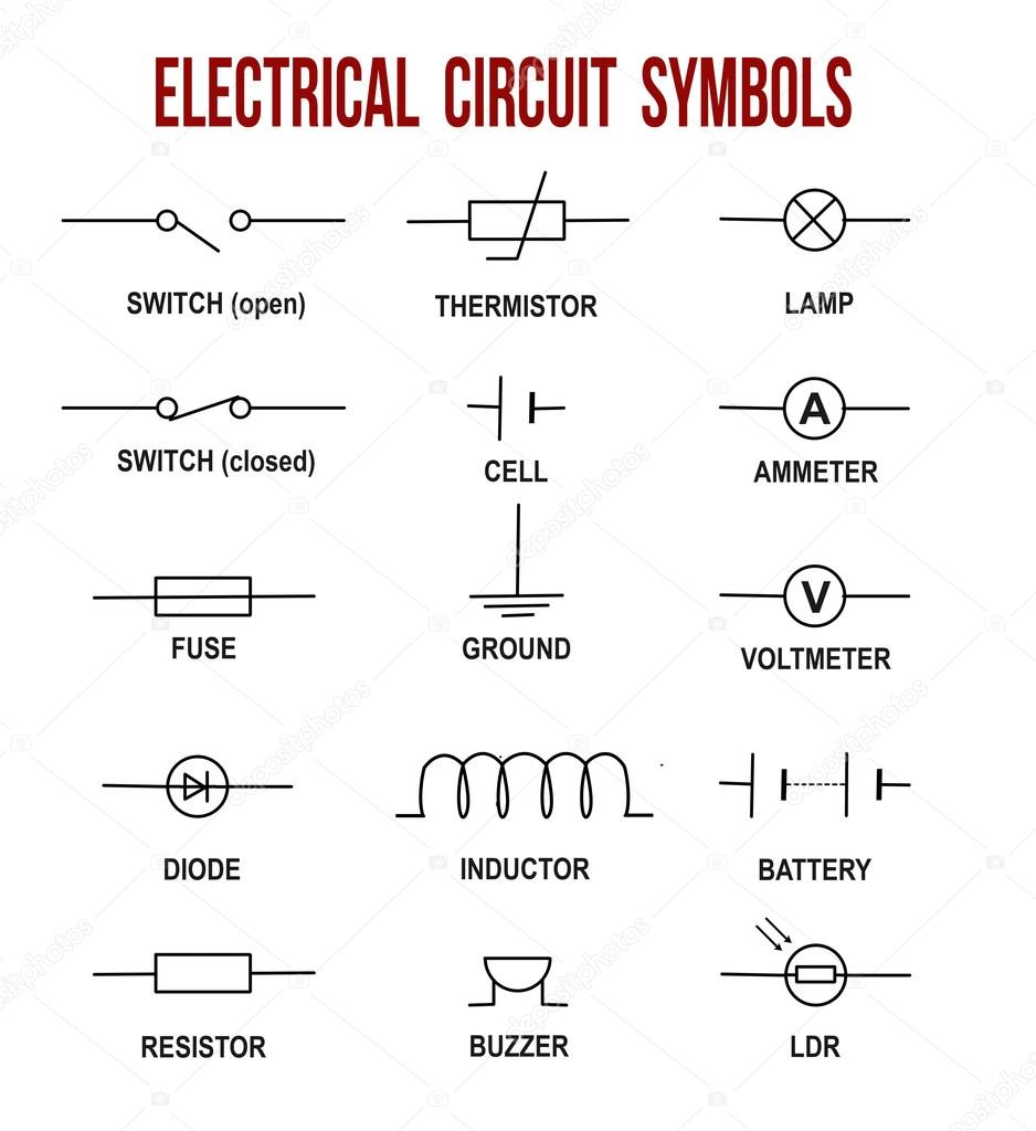 Electrical Schematic Symbols Inductor Guide And Troubleshooting Of Symbol Circuit Stock Vector Roxanabalint 126557382 Rh Depositphotos Com Potentiometer Solenoid