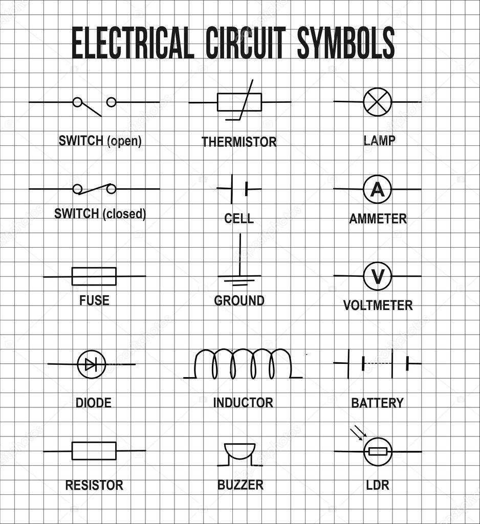 Elektrisch circuit symbolen — Stockvector © roxanabalint #126557436