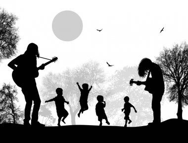 Guitarists playing near childrens on beautiful landscape