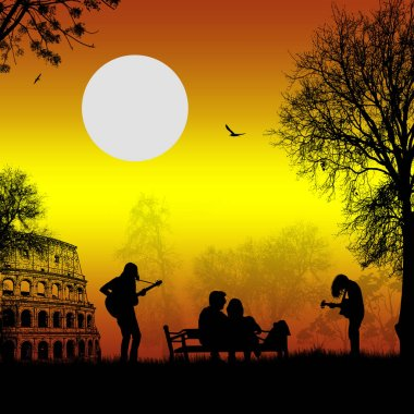 Guitarists playing in Rome with lovers on sunset