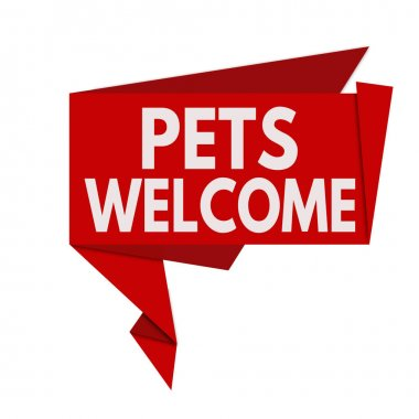Pets welcome origami speech bubble