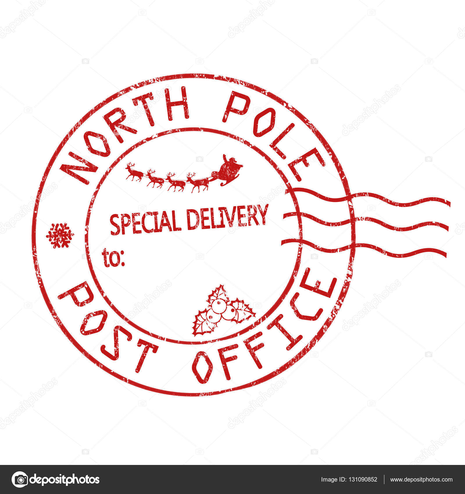 north pole  post office sign or stamp  u2014 stock vector
