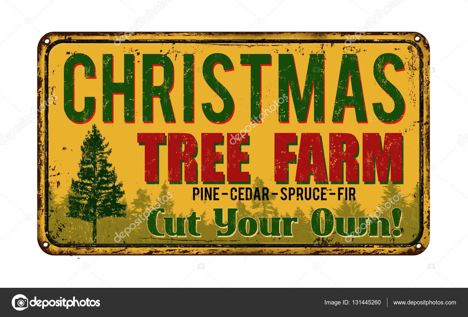 Christmas Tree Farm Vintage Metal Sign Stock Vector C Roxanabalint