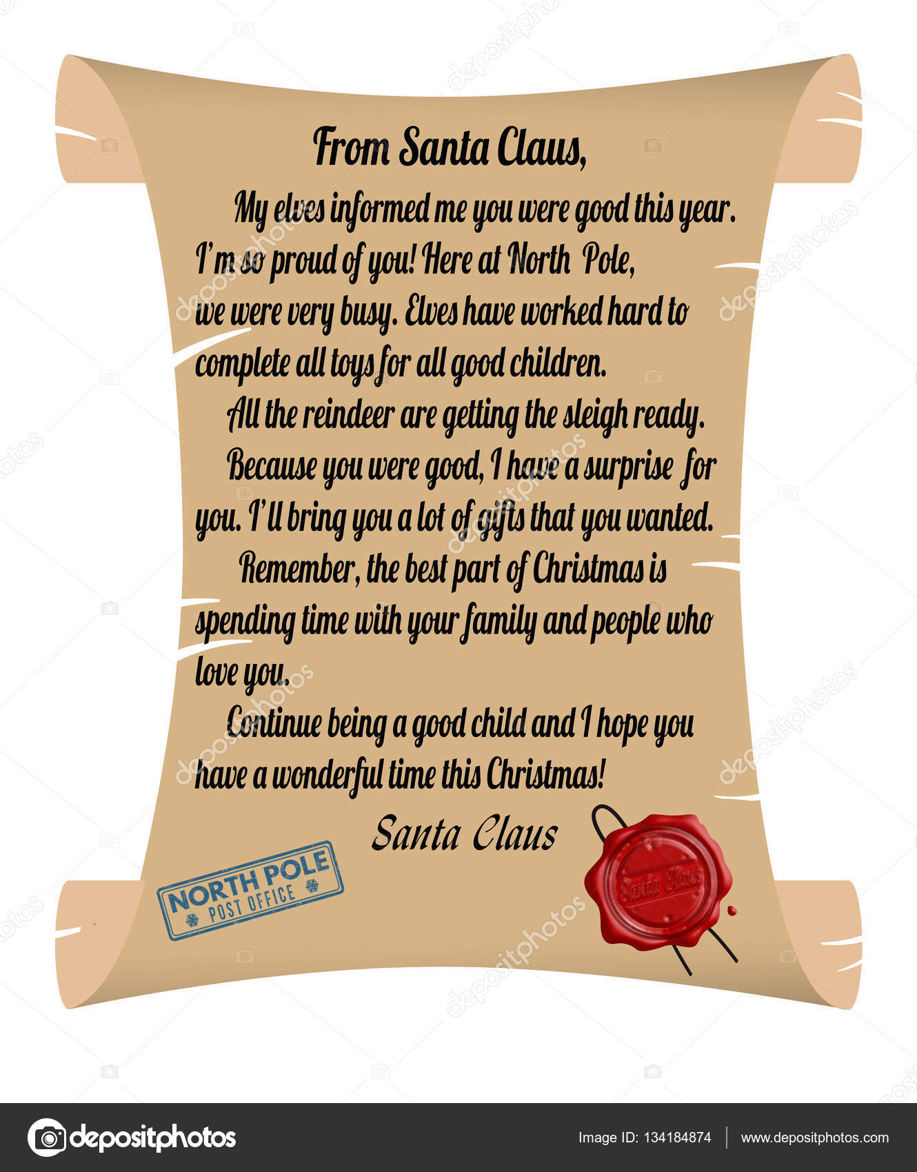 Letter from santa claus stock vector roxanabalint 134184874 letter from santa claus stock vector spiritdancerdesigns Images