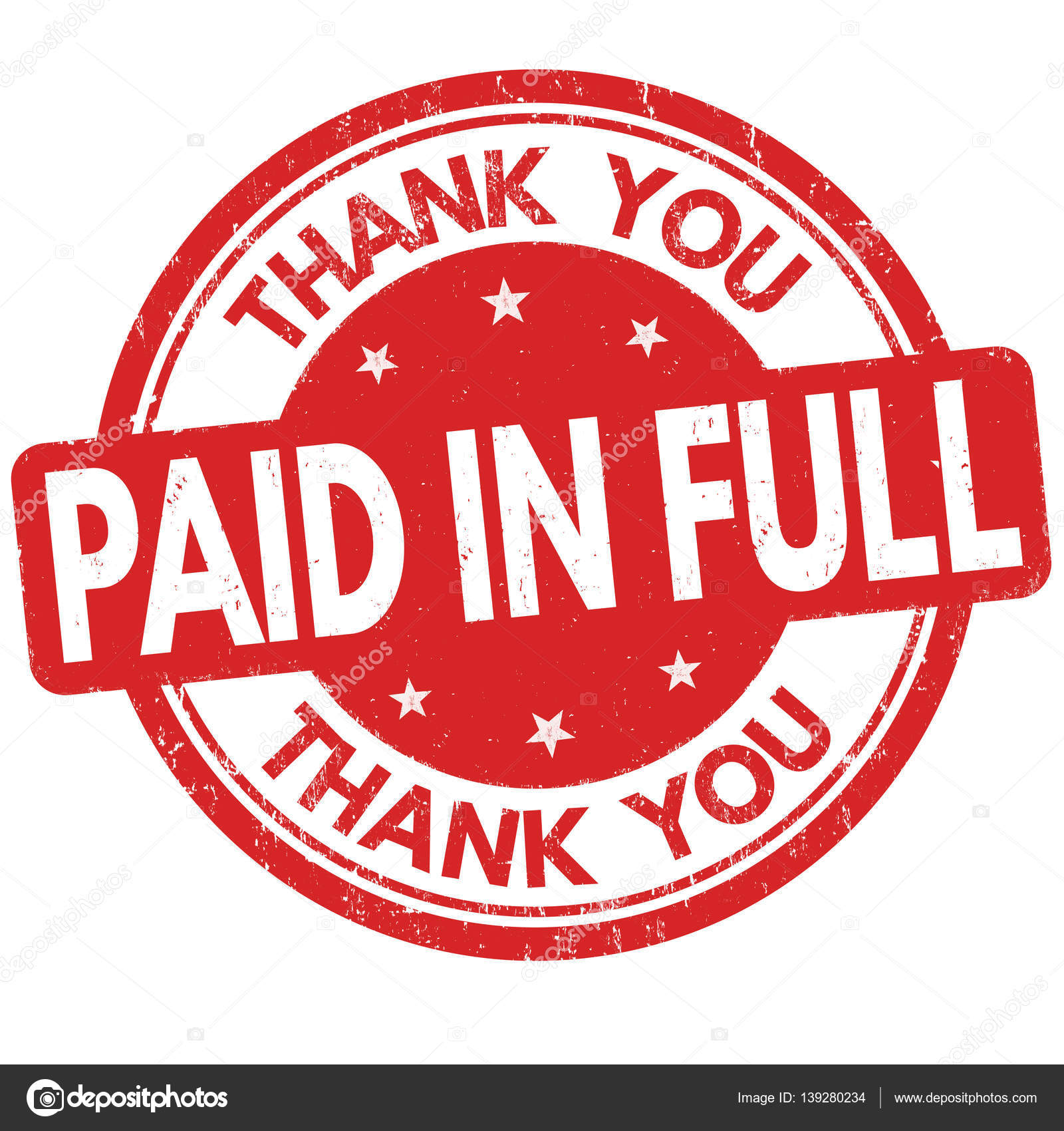 paid in full and thank you sign or stamp � stock vector