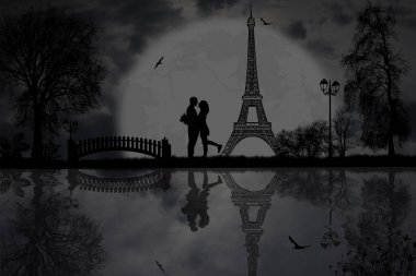 Lovers in Paris at night