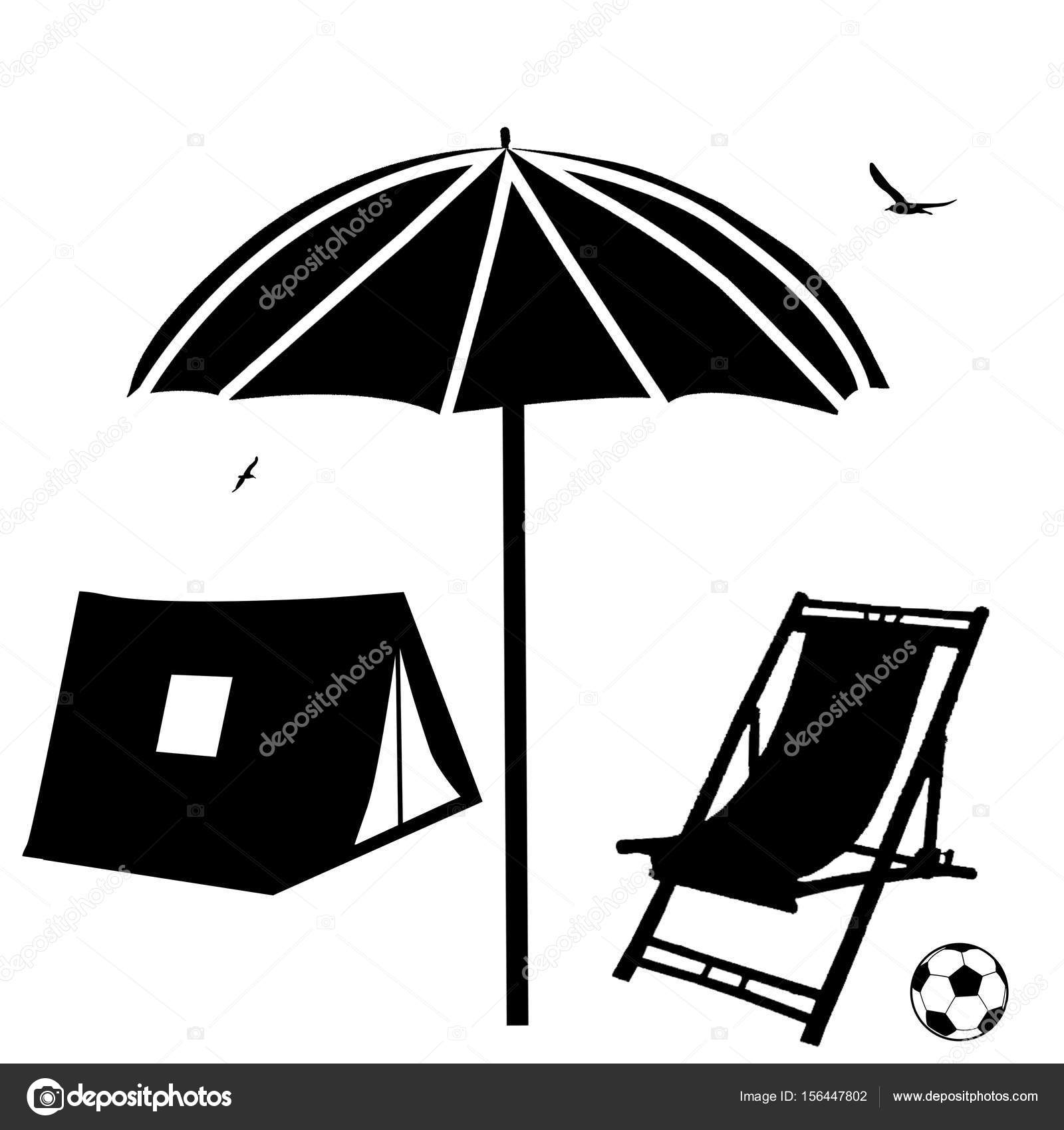 tente parasol et chaise longue plage image vectorielle. Black Bedroom Furniture Sets. Home Design Ideas