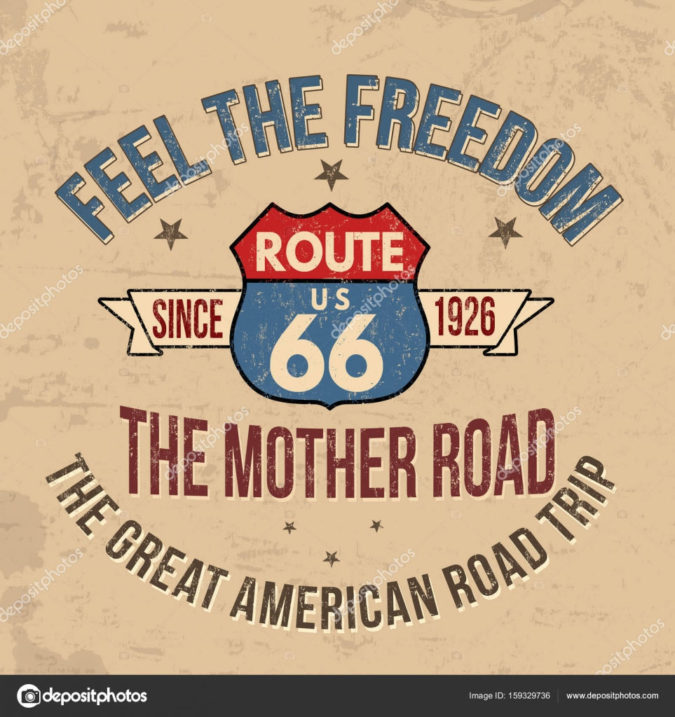 Route 66 typography for t-shirt print — Stock Vector © roxanabalint ...