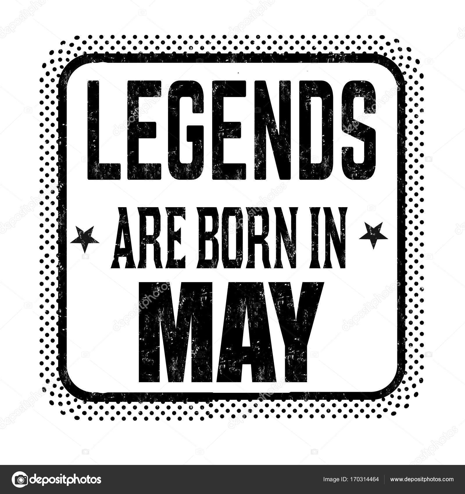 18a61a1ddd Legendák születnek május vintage jelkép, vagy a címke fehér háttér, vektor  illusztráció — Vektorok roxanabalint ...