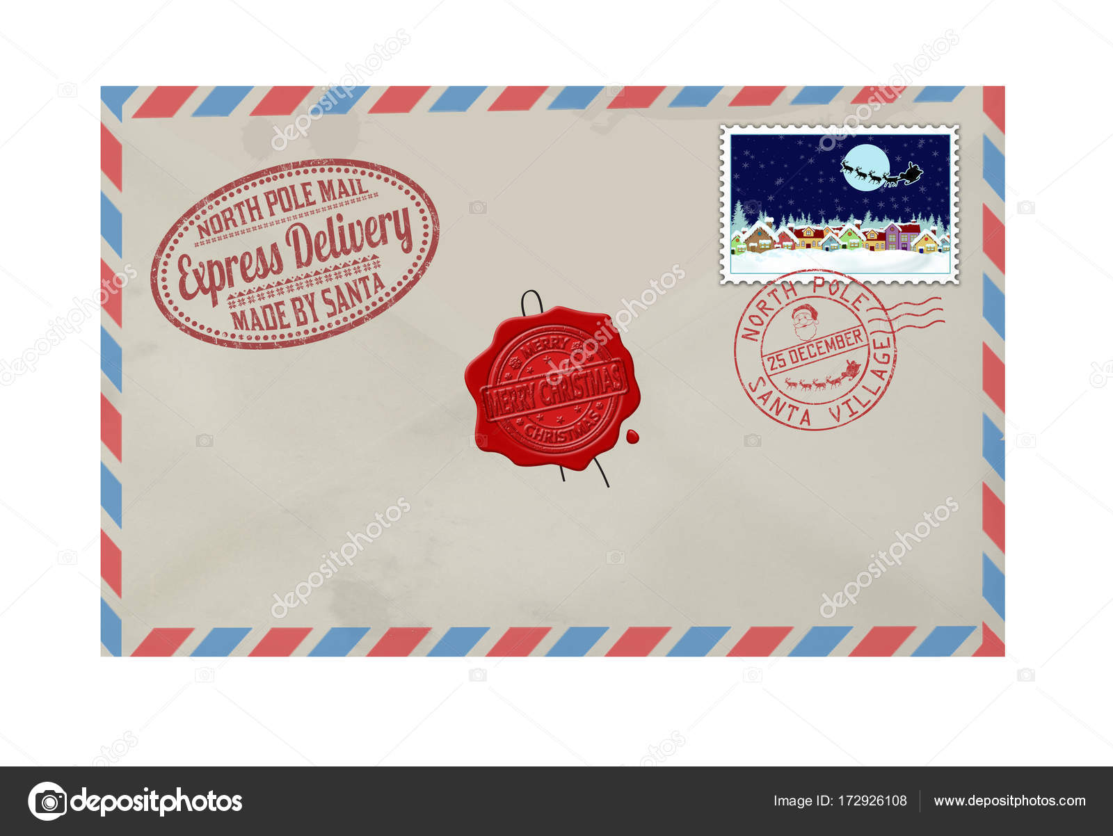 Letter From Santa Claus With Stamps And Postage Marks  Stock Vector