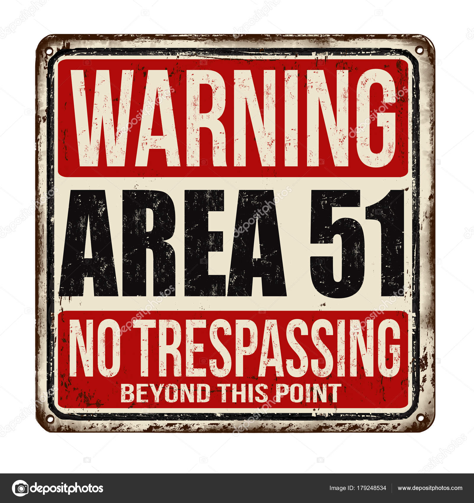 warning area 51 vintage rusty metal sign stock vector