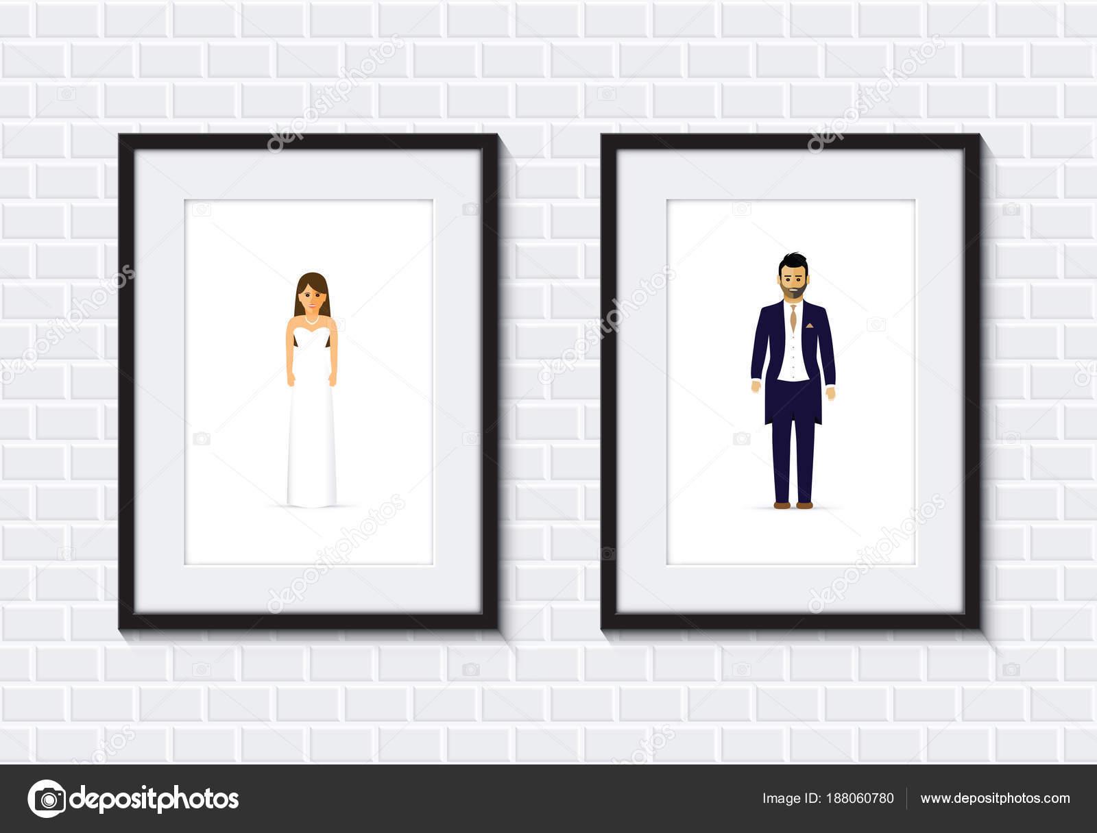 Hochzeit paar Fotorahmen — Stockvektor © jameschipper #188060780