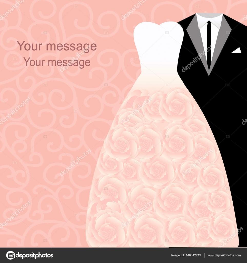 invitación de boda con vestidos — Archivo Imágenes Vectoriales ...