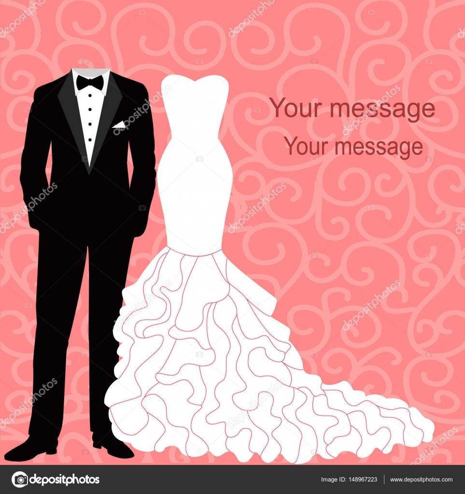 Invitación de boda con un vestido y smoking — Vector de stock ...