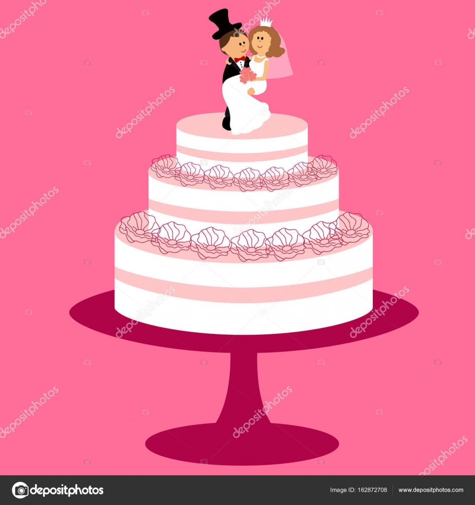 Wedding cake with bride and groom figurine. — Stock Vector ...