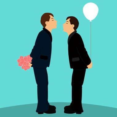 Cartoon gay couple in wedding suits. Grooms. Kiss. Flat design. Vector illustration stock vector