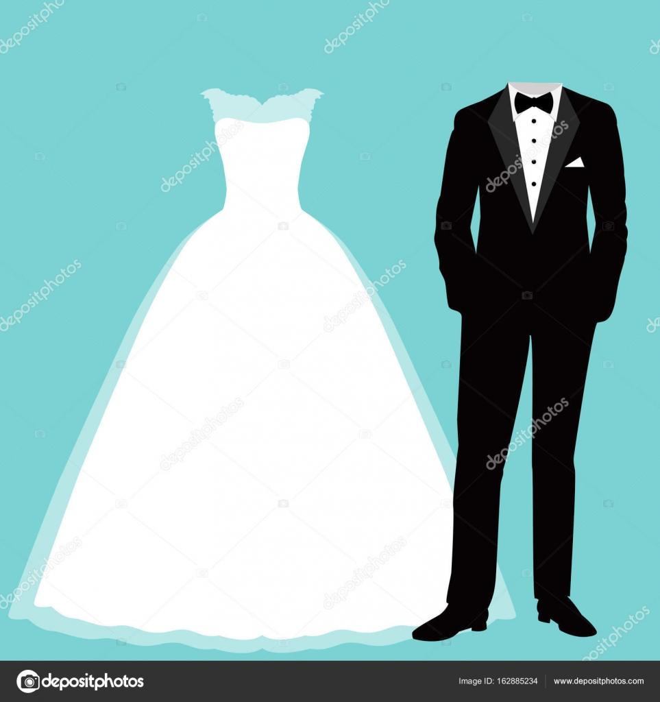 wedding dress and tuxedo. — Stock Vector © pyshustik210905.gmail.com ...