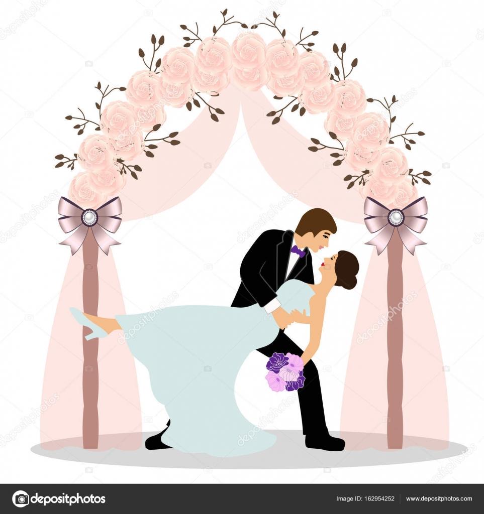 Hochzeit Bogen Mit Brautpaar Stockvektor C Pyshustik210905 Gmail