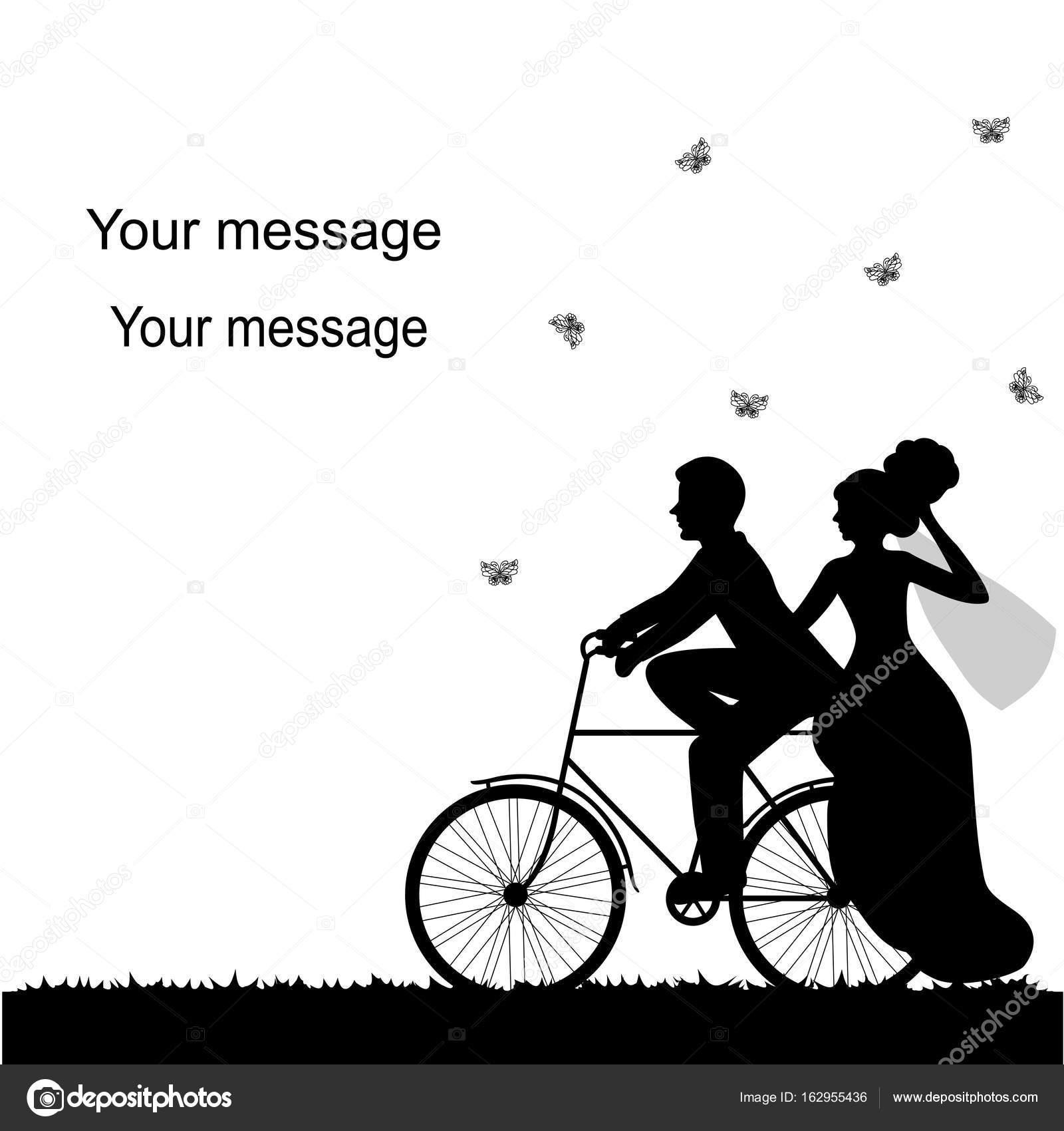 Hochzeitskarte Mit Dem Fahrrad Und Brautpaar Stockvektor