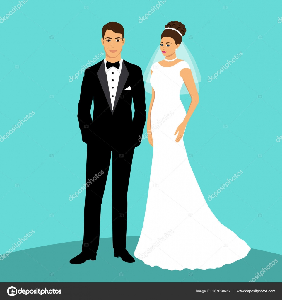 Bride and groom. Couple. — Stock Vector © pyshustik210905.gmail.com ...