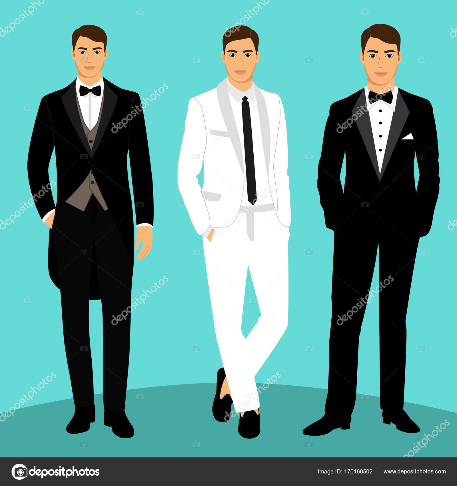 Wedding mens suit and tuxedo. — Stock Vector © pyshustik210905.gmail ...