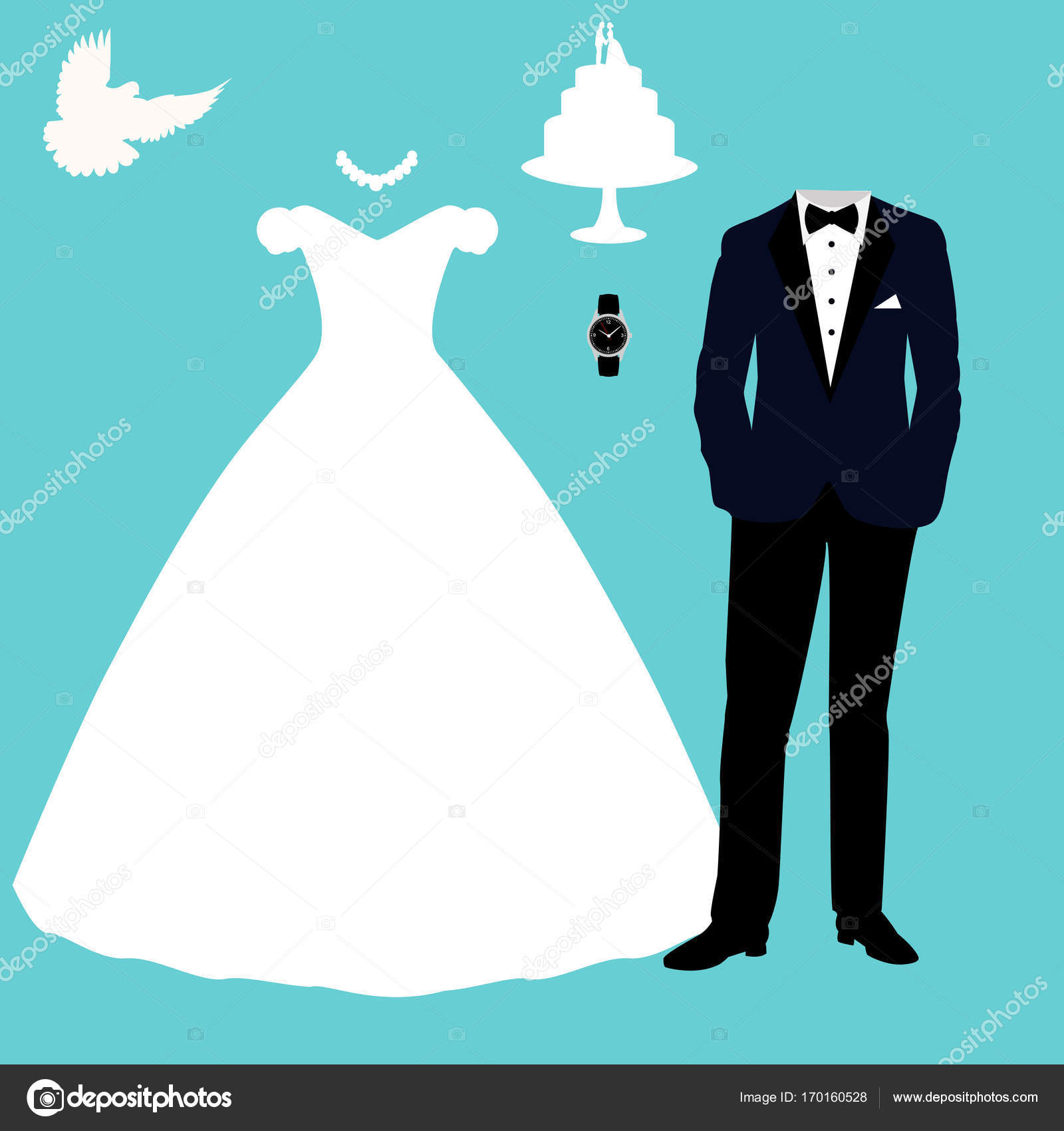 Wedding card with the clothes of the bride and groom. — Stock Vector ...