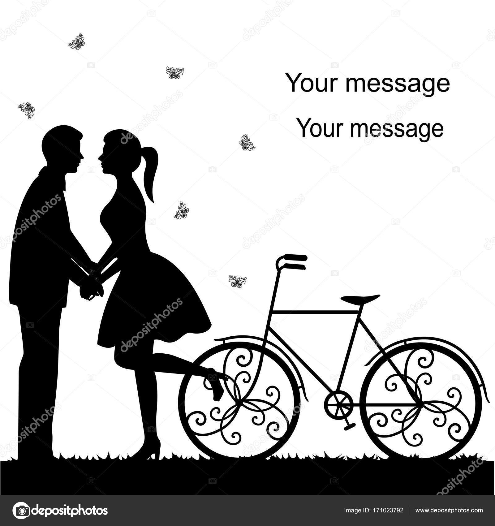 Hochzeitskarte Mit Einem Dekorativen Fahrrad Und Brautpaar
