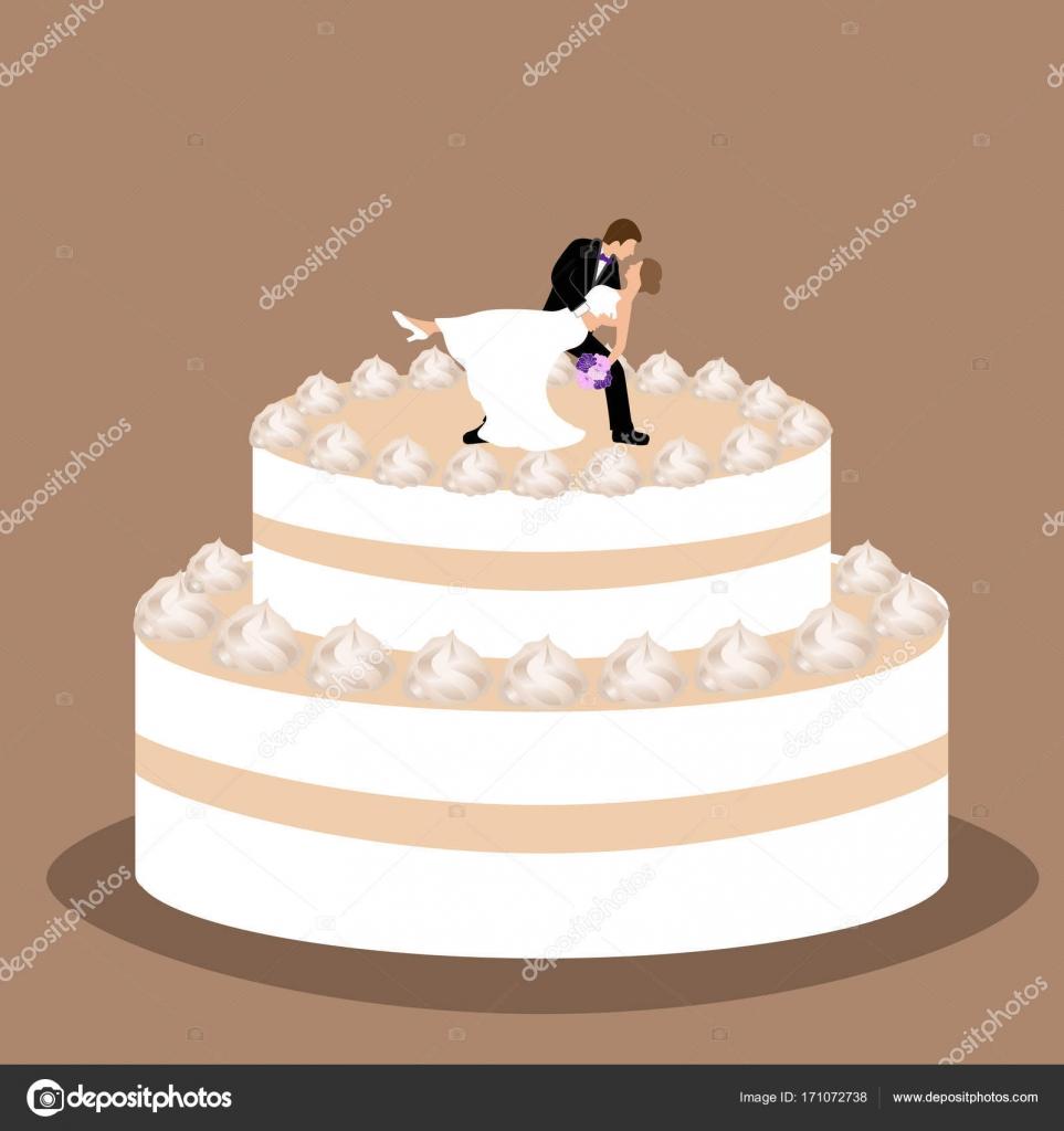 Hochzeitstorte Mit Brautpaar Figur Stockvektor C Pyshustik210905