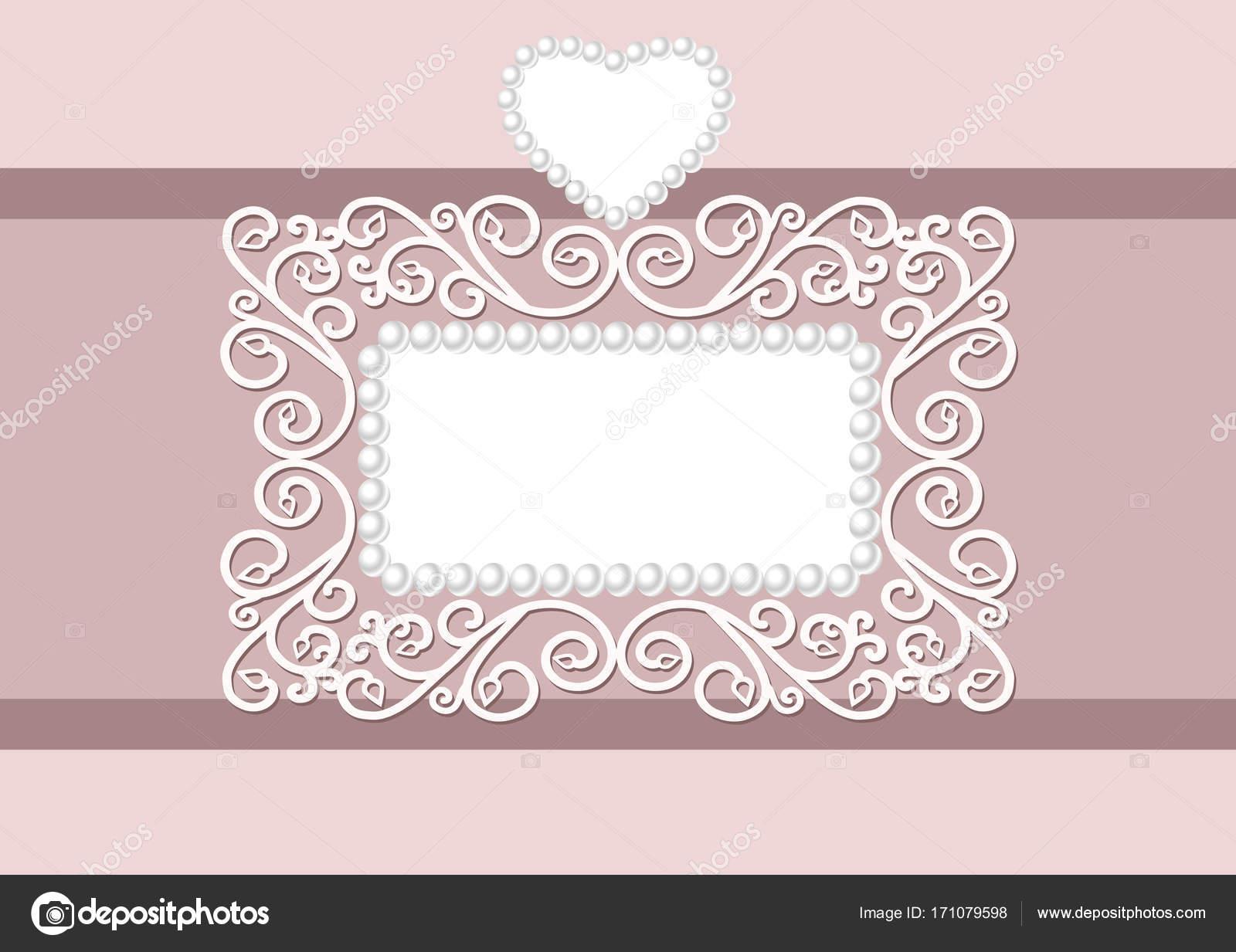 Hochzeitseinladung mit dekorativen eine Perle Rahmen und Herz, mit ...