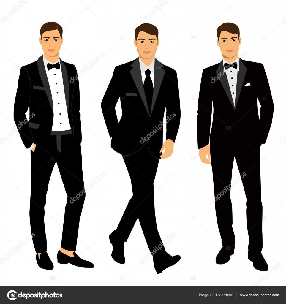 Herren Anzug und Smoking Hochzeit. Kollektion — Stockvektor ...