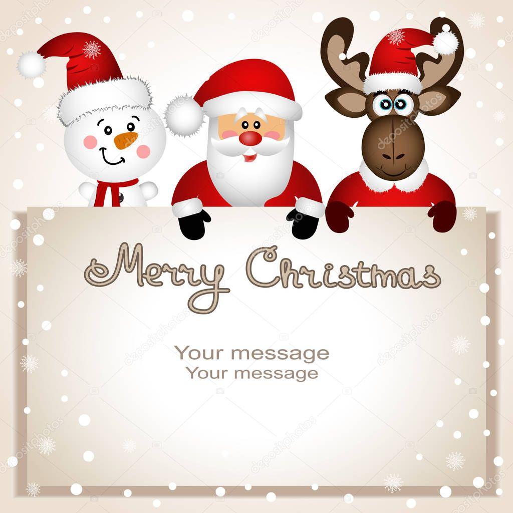weihnachtskarte lustige postkarte mit schneemann elch weihnachten und stockvektor